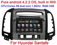 Pure Android 4.2 Car DVD GPS for Hyundai SANTA FE (2006-2012) CPU 1.6Ghz,Capacitive screen,Radio RDS,BT,IPOD,Wifi,Free shipping