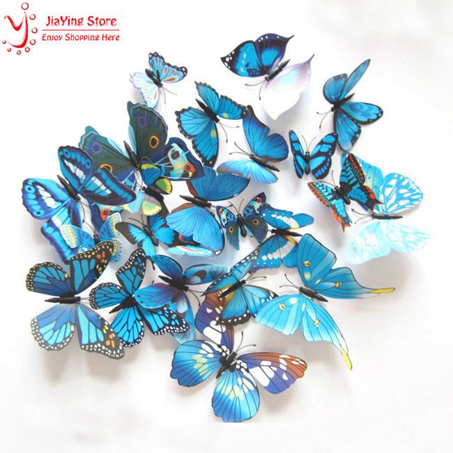 New 12Pcs/Lot Vinyl 3D Blue Butterflies For Wall Art Decal Removable Home Decoration DIY Beautiful Wall Stciker Home Decor(China (Mainland))