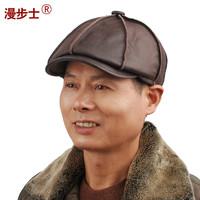 Walk cowhide cap male winter leisure Korean men's hats  Korean artist leather bonnet