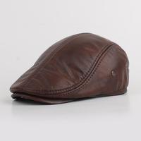 Walkleather cap  men's hats  winter padded leather hat  man in old hat wearing man's  cap
