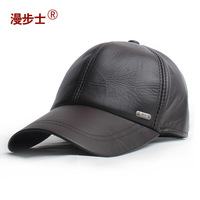 Walk with calfskin leather hat  male fashion leather baseball cap male winter leisure Korean hat