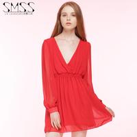 SMSS summer dress before and after waist deep V new long sleeved Chiffon Dress Party dress