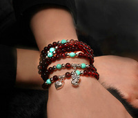 E5091 claretred carbunde bracelet lovers jewelry natural crystal multi-layer circle beads bracelets accessories