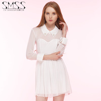 SMSS white waist slimming doll button down collar perspective screen splicing party dress