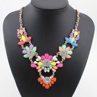 2014 Fashion Necklaces Bohemia Resin Pendants Necklaces Flower Statement Necklaces Long Necklaces For Woman Jewelry DFX-483