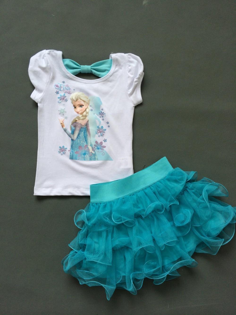 Girls Dress Princess Elsa Dress + T shirt 2 Pcs Set Sky Blue Layered Tutu Dress 3~8 year Party Clothing Sets Girl ADTZ015(China (Mainland))