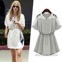 2015 Summer Dress Women Hollow Out Crochet Cotton Casual Dresses Elastic Waist Tunic Vestido Feminino Casual Free Shipping 1501