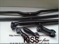 MTB Carbon Fibre Bicycle handlebar +seatpost +stem +bar ends=1 lot Black FastShipping