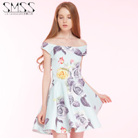 SMSS sexy shoulder collar card Malone color flower print dress A word dress