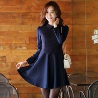 2014 autumn women's fashion elegant long-sleeve POLO collar polka dot one-piece dress