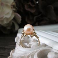 WINN Freshwater Pearl Ring Vintage 14K Gold Filled Rings for Women White or Pink Real Pearl Wedding Rings