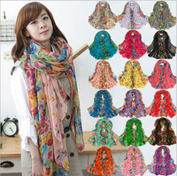 2014 Fashion women Bali yarn garden flowers  floral voile large rectangular scarf shawl wholesale 10 colors