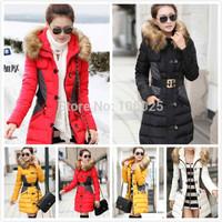 2014 New Brand Fashion Clothing Fur Hooded Zipper Long Style Women Warm Down Coat 4 Colors Winter parkas coat Size M-XXL
