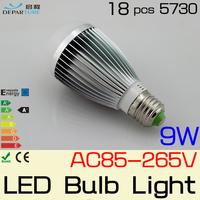 5PCS  Epistar 5730 LED Bubble Ball bulb Non-Diemmabl E27 9W  AC85-265V,  led light lamp bulb FREE SHIPPING