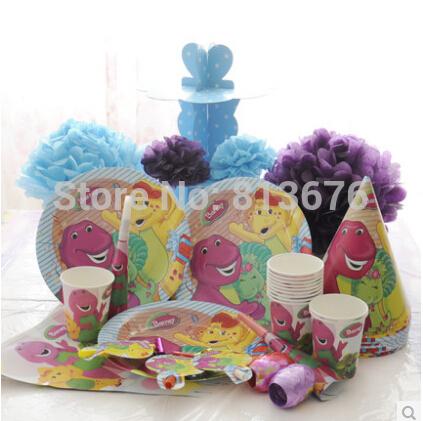 Free shipping birthday party ideas kids birthday party barney theme 94pcs/set(China (Mainland))