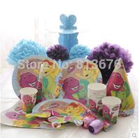 Free shipping birthday party ideas kids birthday party barney theme 94pcs/set