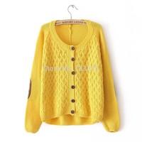 2014 South Korea Brand fashion New womens autumn/winter Round collar sweater cardigan Lady Knitting cardigan coat sweater female