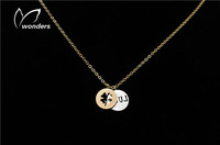 Free Shipping stainless steel Luck script with clover charm unique 2014 fashion jewelry for women