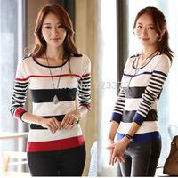 2014 South Korea Brand fashion New women autumn/winter Round collar stripe pullover sweater Ladies' Knitting render sweater coat