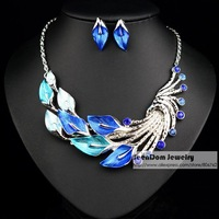SeenDom European Gorgeous Style Multi Color Flowers Petals Alloy Necklace Earring Sets CZ Crystal Vintage Jewelry Sets SVS001