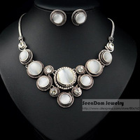 Retro Bohemian Style Elegance Ladies Circular White Stone Jewelry Sets CZ Crystal Chunky Necklace Earring Sets SeenDom SVS004
