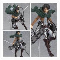 "Free Shipping Cool 6"" Attack on Titan Shingeki no Kyojin Scouting Legion Levi Boxed PVC Action Figure Model Toy Gift Figma 213"
