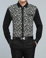 2014 NEW Free shipping men's spring autumn fashion  business long sleeve slim fit desgin printing cotton shirts