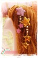 Princess sweet lolita hair accessories Original soft amo lolita star hairpin pendant jewelry pentagonal stars hanging cosplay