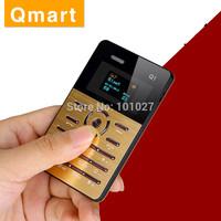 Original Qmart Q1 Quad Band Mini Ultra-thin Pocket Card Cool Children Student Mobile Cell Phone MP3 FM English Russian Z#