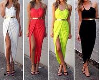 Summer women's 2014 fashion irregular pleated Sleeveless Fold Slim Sexy Slit Sleeveless Beach Dress Bandage Halter club