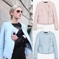 2014 New Autumn Winter Celebrity Women Crew Neck Long Sleeve Composite Faux Leather Zipper Short Jacket Coat Outwear Tops