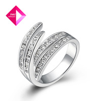 White Gold jewelry wholesale jewelry genuine Austrian crystal gilded wings crystal ring brand wedding,ring series