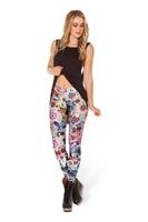 OSAILI Ladies Womens Skinny Pants skinny trousers Day Of The Dead print stretchy Digital Silky Leggings Colorful leggings