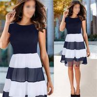 Size S-XXL 2014 Cute Women Party Chiffon Dress Striped Patchwork Short Sleeve Dress Summer A-Line High Waist Dress Navy
