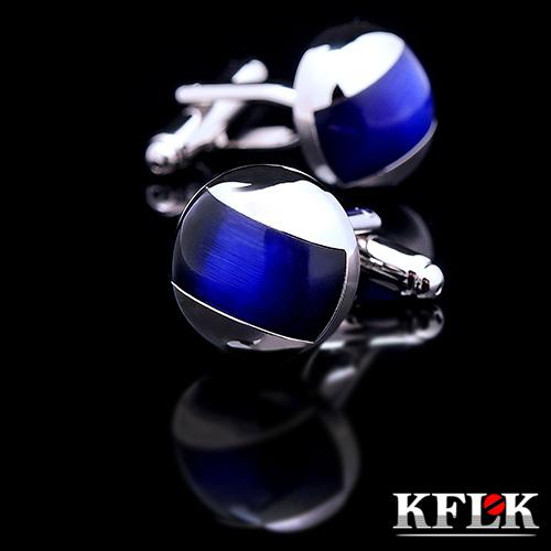Kflk Jewelry 2015 New Shirt Cufflinks For Mens Gift Brand Cuff Buttons Blue Cuff Link High Quality Abotoaduras Free Shipping(China (Mainland))