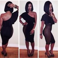 2014 New Fashion Bodycon Bandage Dress Black One Shoulder Ruffles Mini Dress Sexy Night Club Dress Evening Party Dress DZ003