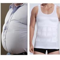 1pc/lot Men Slim Body Shaper Waist Abdomen Underwear Shirt Less Beer Belly Compression Men Sport Vest AY870648