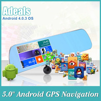"Brand New 1080P Car Rearview DVR 5.0"" Android GPS Navigation WiFi FM Dual Camera Touch Screen Rearview Mirror H2374"
