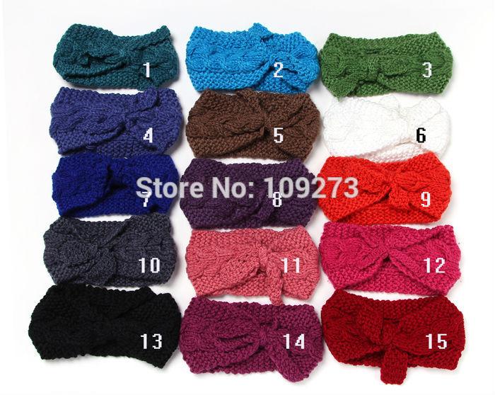10pc 15colors New fashion handmade knit cable headband plait hair band women hair accessories winter crochet ear warm headwrap(China (Mainland))