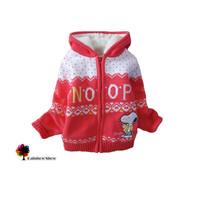 New Children Clothing Autumn Winter Girls Imitation Sherpa Liner Watermelon Red Cartoon Dog Hooded Warm Cotton Sweater Coat