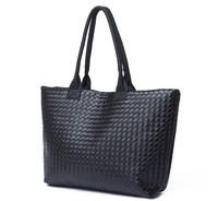 Black Women PU Leather Handbag Tote Shoulder Bags Large Capacity PU Weave Bags Fashion Design Messenger Bags Freeshipping