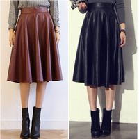 2015 Spring Summer Women Clothing Street Style Faux PU Leather High Waist Pleated Skirts Black Red Midi Skirt Female Girl 148028