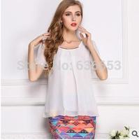 body 2014 summer new women Slim yards refreshing quality short-sleeved chiffon sheer blouse shirt  top wear  female clothe