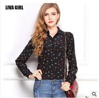 body New women big yards loose anchor printed chiffon blouse shirt lapel long-sleeved shirt bottoming female button  top wear