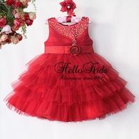 Christmas New Girl Dresses Polyster Lovely Chiffon Pearl Dress Children Cltohing Kids Wear Ready Store GD40814-44