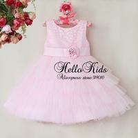 Newest Fashion Kids Dress Flower Polyster Princess Party Dresses Lace Girls Tutu Fashion Child Clothing Free Shipping GD40814-47