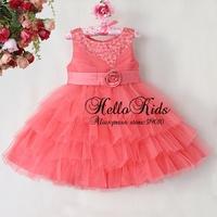 Hot Sale Girl Princess Dresses Polyster Chirstmas Orange Lovely Dress Children Cltohing Kids Wear Ready Store GD40814-45