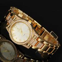 2 Colors 18K Gold Luxury Watch Women Dress Watch Stainless Steel Women Rhinestone Watch BW-SB-950