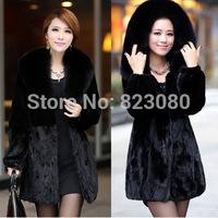 2014 Winter Women's faux Rabbit Fur Coat,big collar coat ,Hooded faux  Fur Coats Plus Size S-5XL Overcoat,is_customized