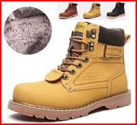 Hot 2014 new casual genuine leather fashion Plush men boots winter fur men snow boots size 44 45 strap vintage flats men shoes
